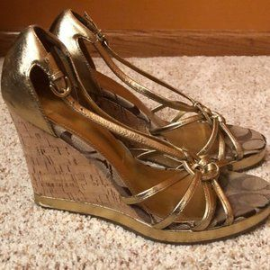 Fun gold Coach heels. Size 8.5.